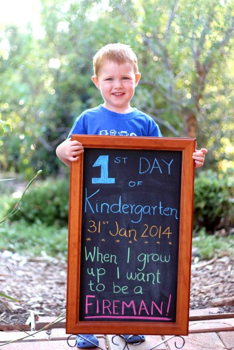 Alex 1st day kinder board